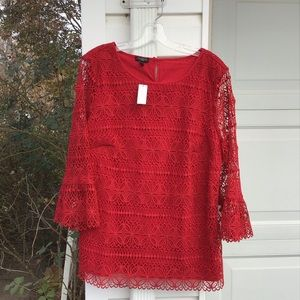 NWT Talbots Gorgeous Red Floral Lace Fun Sleeves